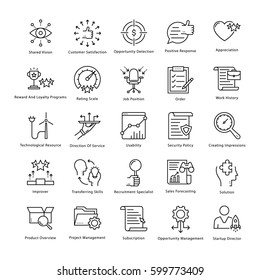 Business Management and Growth Vector Line Icons 47