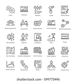 Business Management and Growth Vector Line Icons 17
