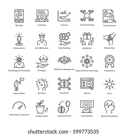 Business Management and Growth Vector Line Icons 22