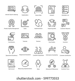 Business Management and Growth Vector Line Icons 29