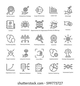 Business Management and Growth Vector Line Icons 27