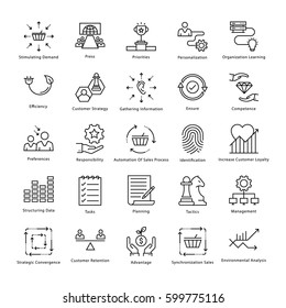 Business Management and Growth Vector Line Icons 30