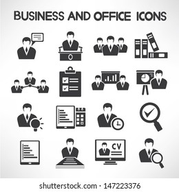 business management and human resource icons set