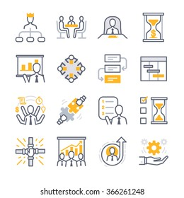 Business Management icon set. Included the icons as manager, team, performance, priority, work, meeting and more.