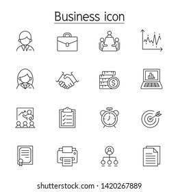 Business management icon set in thin line stye