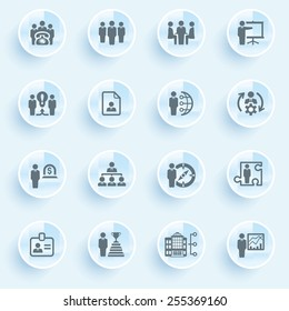 Business and management icons with buttons on blue background.