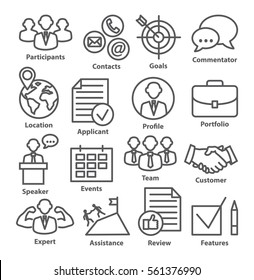 Business management icons in line style. Career progress, strategy and business process. Pack 25.