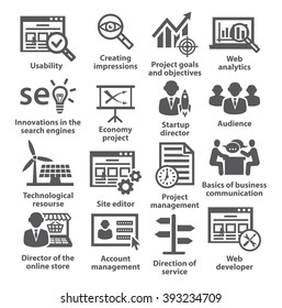 Business management icons. Pack 07.