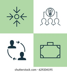 Business Management Icons Set. Collection Of Collaborative Solution, Cooperation, Portfolio And Other Elements. Also Includes Symbols Such As Collaboration, Idea, Project.