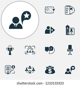 Business management icons set with job performance, benefit, success and other capitalist elements. Isolated vector illustration business management icons.