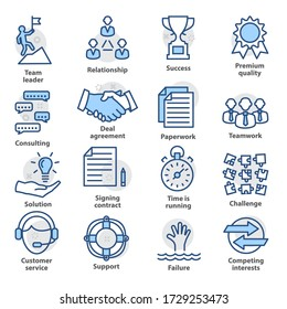 Business management icons. Set in line style for strategy, career progress and business process. Pack 10.