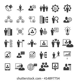 business management icons set, organization and office icons