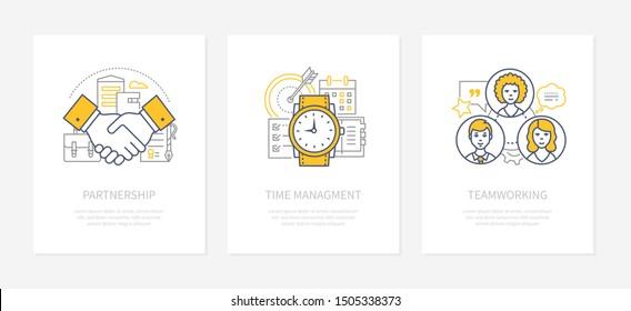 Business management - line design style icons set