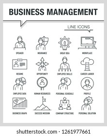 BUSINESS MANAGEMENT LINE ICONS