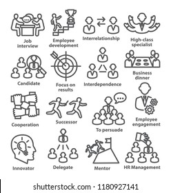 Business management line icons Pack 33