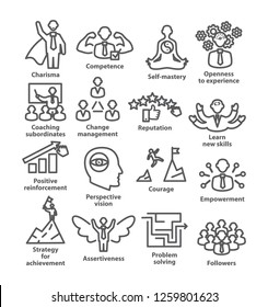 Business management line icons. Pack 45. Icons for leadership, idol, career.