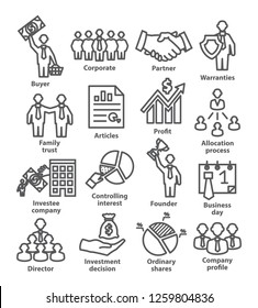Business management line icons. Pack 38.
