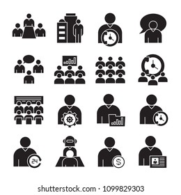 business management, meeting, conference, organization and office icons set