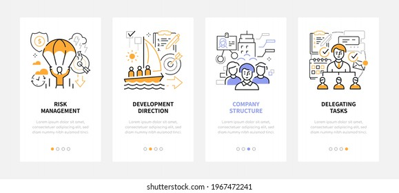 Business and management - modern line design style web banners with copy space for text. Risks, development direction, company structure, delegating tasks carousel posts. Teamwork and goals idea