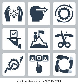 Business management and service vector icon set
