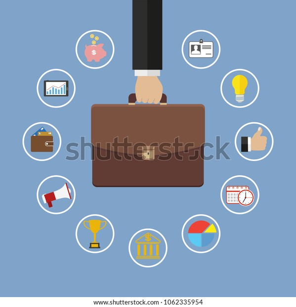 Business and management strategy concept with flat iconsHand holding briefcase with icons. Business management flat illustration