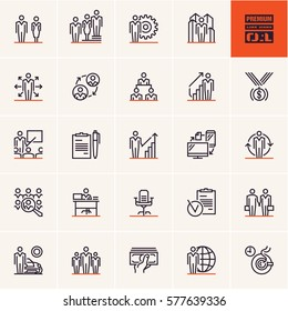 business and management thin line icon set, business people line icons vector set