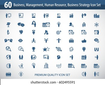 Business management, training, strategy or human resource icon set. EPS 10 vector. Can be used for any project