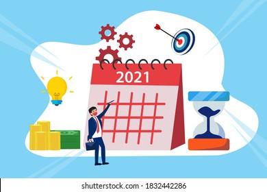 Unternehmensmanagement-Vektorkonzept: Geschäftsmann mit Kalender 2021 plant seine Zukunft