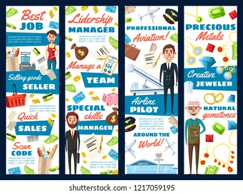 Business manager, aviation pilot or jeweler and supermarket seller professions. Vector cartoon design of men with professional work items, airplane or credit card money and of jewelry gemstones