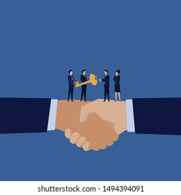 Business manager give key to other metaphor of acquisition. Illustration For Wallpaper, Banner, Background, Infographic, Book Illustration, And Web Landing Page.