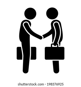 Business Mans Handshake. Greetings Gesture Stick Figure Pictogram Icon. Vector illustration