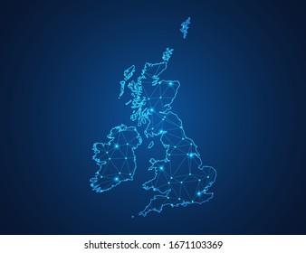 Business map of United Kingdom (UK) modern design with polygonal shapes on dark blue background, simple vector illustration for web sitedesign, digital technology concept.