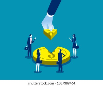 Business market share. Concept business vector illustration, Sweet Pie, Currency, Slice.