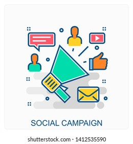 Business, Marketing, Advertisement Campaign Icon Concept