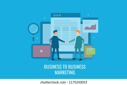 Business to business marketing, B2B marketing concept, digital business collaboration flat design vector illustration