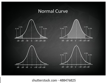 Business and Marketing Concepts, Illustration Set of Gaussian Bell Curve or Normal Distribution Curve on Black Chalkboard Background.