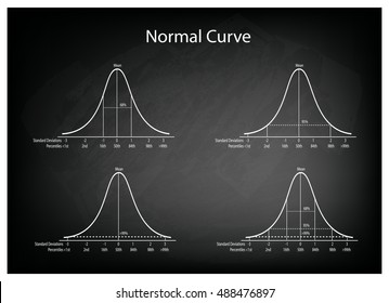 Business and Marketing Concepts, Illustration Set of 4 Gaussian Bell Curve or Normal Distribution Curve on Black Chalkboard Background.