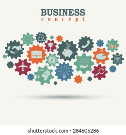 Business marketing engine, connected gears,  strategy mechanism concept. Flat vector icons