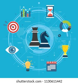 Business, marketing and finance strategy. Business strategy and corporate success, innovation vision concept. Chess pieces, chart, vision, gear and target icons.Flat design vector illustration.