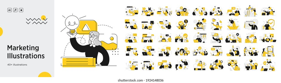 Business Marketing illustrations. Mega set. Collection of scenes with men and women taking part in business activities. Trendy vector style - Shutterstock ID 1924148036