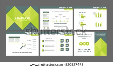 business marketing presentation templates set six stock vector