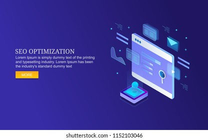 Business marketing, Search engine optimization, SEO concept 3D style isometric design banner