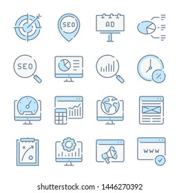 Business , Marketing and SEO related blue line colored icons.