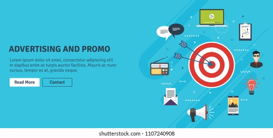 Business marketing,promotion,advertising and strategy.Advertising and marketing communication icons.Advertising and promotion internet banner concept with icons in flat design vector illustration.