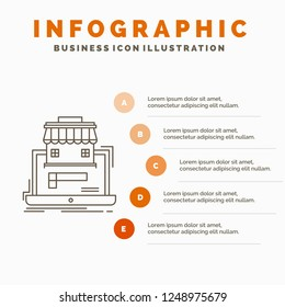 business, marketplace, organization, data, online market Infographics Template for Website and Presentation. Line Gray icon with Orange infographic style vector illustration