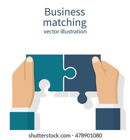 Business matching concept. Connecting elements puzzle in hand businessman. Working together to solve problems. Cooperation, association, alliance companies. Vector illustration flat design.