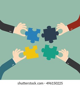 business matching , connecting puzzle elements , team work