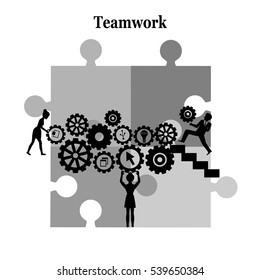Business matching , connecting puzzle elements , teamwork.
