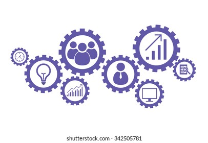 Business mechanism concept. Abstract background with connected gears and icons for strategy, research, concepts. Vector