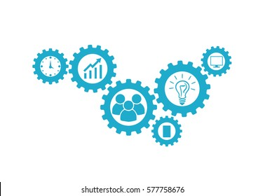 Business mechanism concept. Abstract background with connected gears and icons for strategy, research, concepts. Vector - stock vector